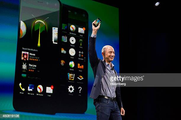 Jeff Bezos chief executive officer of Amazoncom Inc unveils the Fire Phone during an event at Fremont Studios in Seattle Washington US on Wednesday...