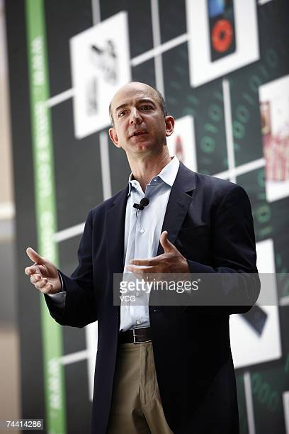 Jeff Bezos the founder and CEO of Amazon attends a press conference on June 5 2007 in Beijing China Amazoncom has renamed their Chinese Website to...