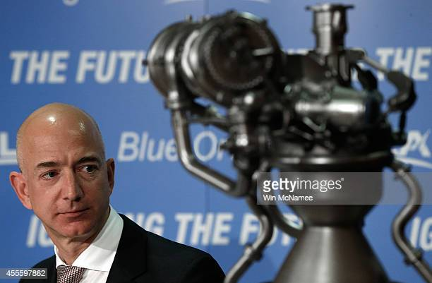 Jeff Bezos the founder of Blue Origin and Amazoncom appears at a press conference to announce the new BE4 rocket engine with Tory Bruno CEO of United...