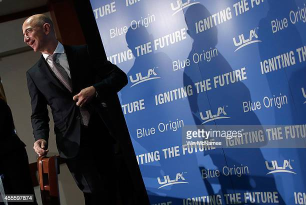 Jeff Bezos the founder of Blue Origin and Amazoncom arrives at a press conference to announce the new BE4 rocket engine during a press conference...