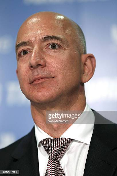 Jeff Bezos the founder of Blue Origin and Amazoncom speaks at a press conference to announce the new BE4 rocket engine during a press conference with...