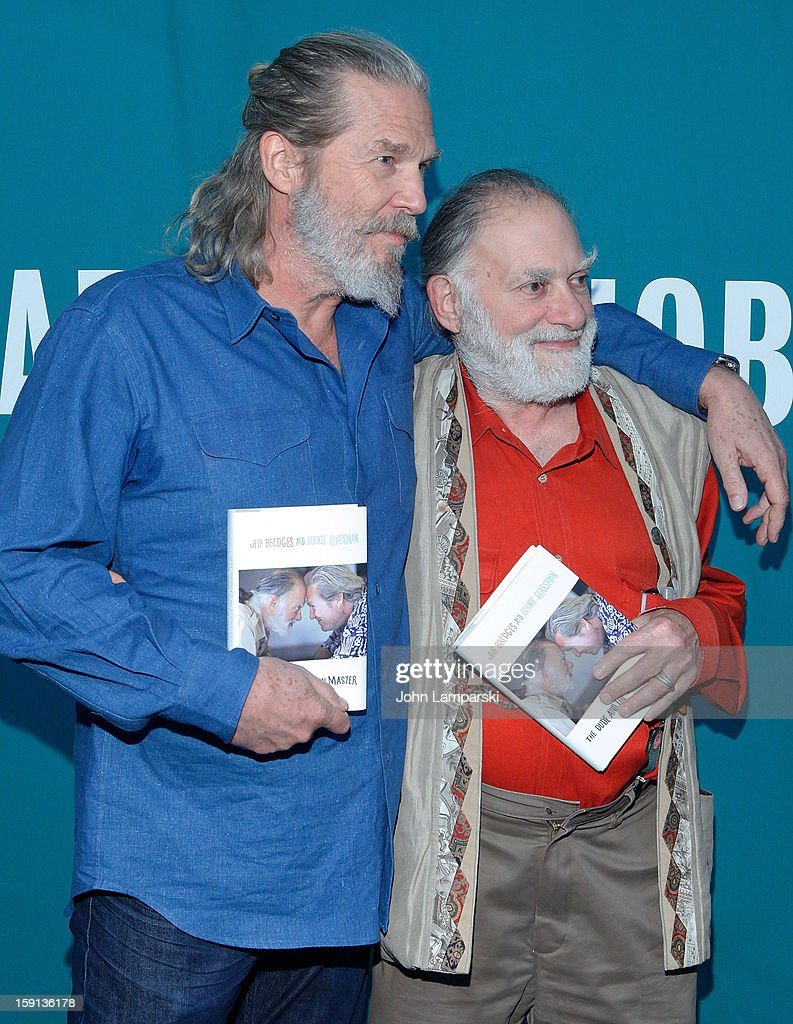 Jeff Bridges and Bernie Glassman attend in Conversation With James Shaheen: 'The Dude and the Zen Master' at Barnes & Noble Union Square on January 8, 2013 in New York City.