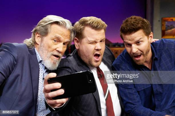 Jeff Bridges and David Boreanaz chat with James Corden during 'The Late Late Show with James Corden' Monday October 9 2017 On The CBS Television...