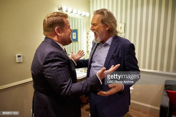 Jeff Bridges chats in the green room with James Corden during 'The Late Late Show with James Corden' Monday October 9 2017 On The CBS Television...