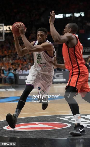 Jeff Brooks #23 of Unicaja Malaga in action during the 20162017 7Days Eurocup Finals Leg 3 Valencia Basket v Unicaja Malaga at Pabellon Fuente de San...