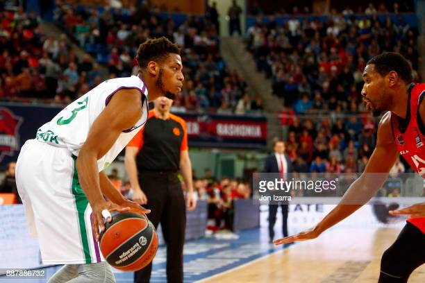 Jeff Brooks #23 of Unicaja Malaga in action during the 2017/2018 Turkish Airlines EuroLeague Regular Season Round 11 game between Baskonia Vitoria...