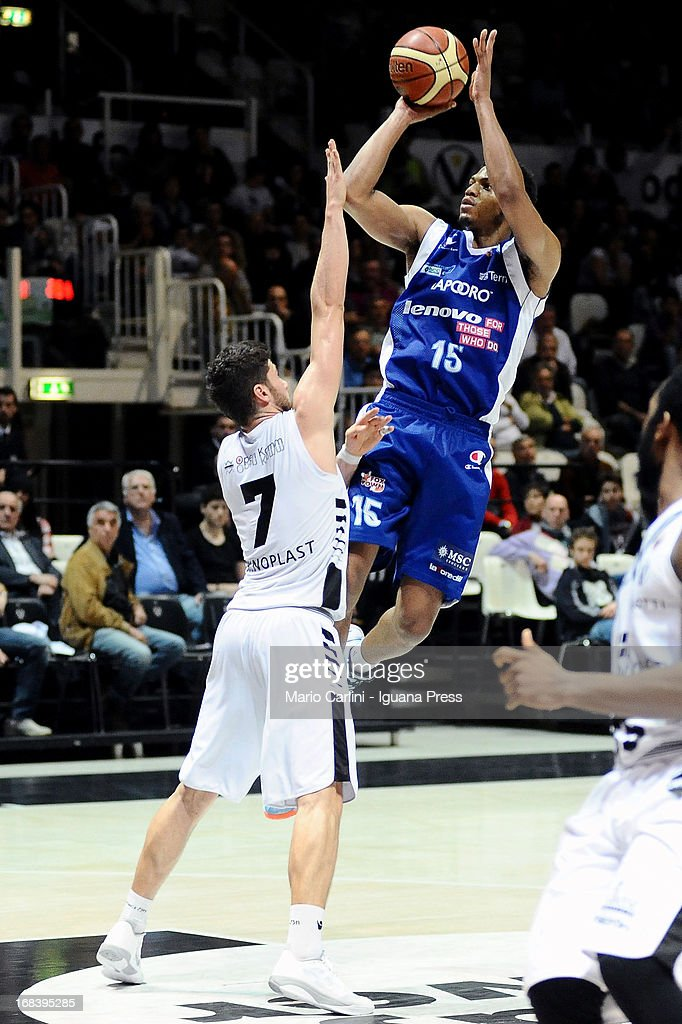 Jeff Brooks of Lenovo competes with Matteo Imbro of Oknoplast during the LegaBasket A1 basketball match between Oknoplast Bologna and Lenovo Cantu at Unipol Arena on May 5, 2013 in Bologna, Italy.
