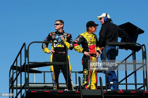 Jeff Burton driver of the Caterpillar Chevrolet Clint Bowyer driver of the Cheerios/Hamburger Helper Chevrolet and RCR Team owner Richard Childress...