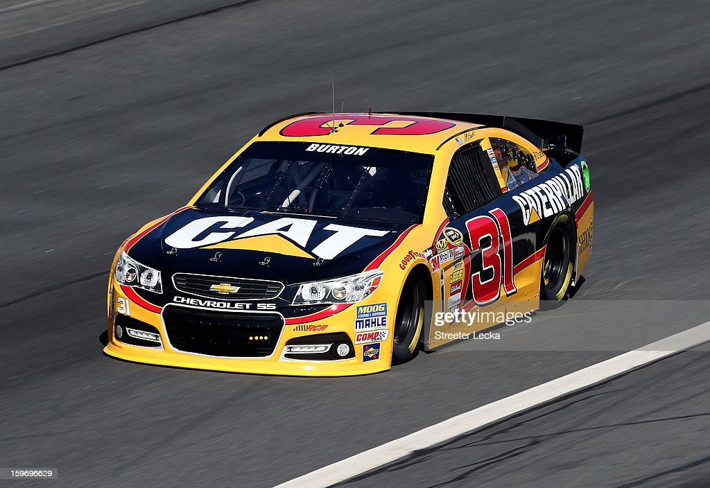 <a gi-track='captionPersonalityLinkClicked' href=/galleries/search?phrase=Jeff+Burton&family=editorial&specificpeople=216559 ng-click='$event.stopPropagation()'>Jeff Burton</a>, driver of the #31 Chevrolet, in action during NASCAR Testing at Charlotte Motor Speedway on January 18, 2013 in Charlotte, North Carolina.