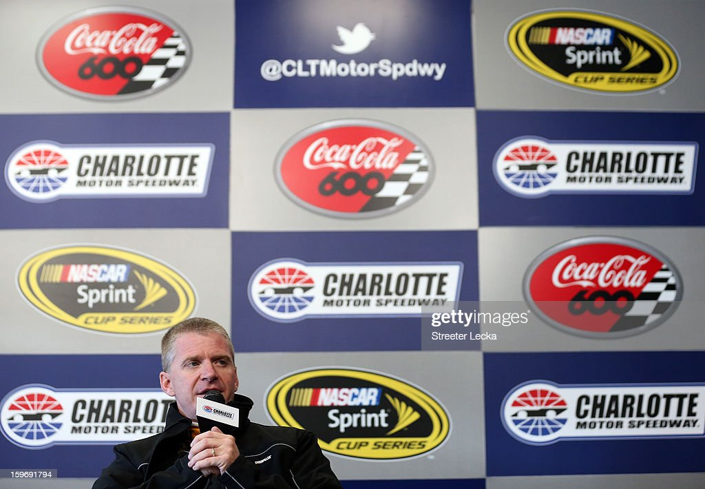 Jeff Burton, driver of the #31 Chevrolet, speaks to the media during NASCAR Testing at Charlotte Motor Speedway on January 18, 2013 in Charlotte, North Carolina.
