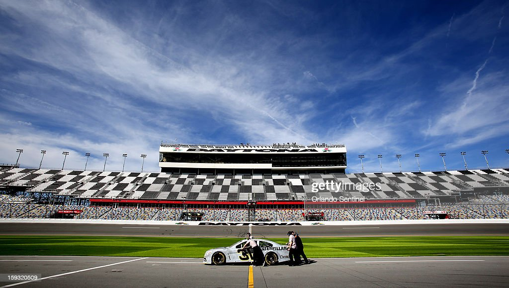 Jeff Burton (31) prepares to race in this view from pit row, during test trials at Daytona International Speedway in Daytona Beach, Florida, Friday, January 11, 2013.