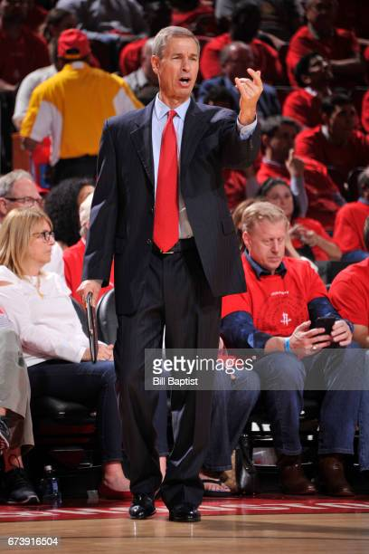 Jeff Bzdelik of the Houston Rockets coaches during Game Five of the Western Conference Quarterfinals against the Oklahoma City Thunder during the...
