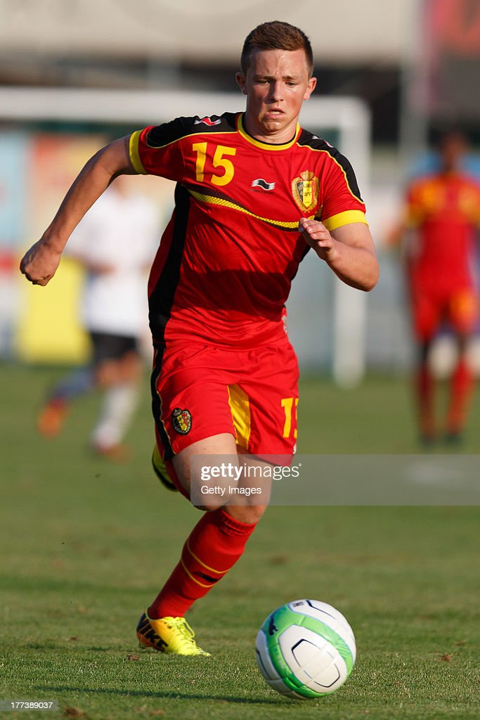 Jeff Callebaut of Belgium runs for the ball during the U17 Toto-Cup match between Germany and Belgium on August 21, 2013 in Gleisdorf, Austria.