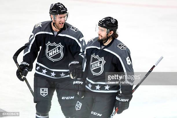 Jeff Carter and Drew Doughty of the Los Angeles Kings react during the 2017 Honda NHL AllStar Game Semifinal at Staples Center on January 29 2017 in...