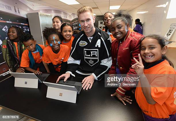 Jeff Carter of the Los Angeles Kings attends the NHL and the Los Angeles Kings unveiling of renovated indoor and outdoor spaces at the Crenshaw...