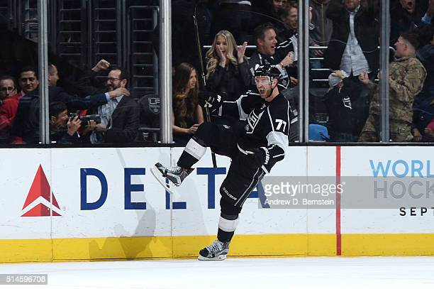 Jeff Carter of the Los Angeles Kings celebrates during a game against the Washington Capitals at STAPLES Center on March 09 2016 in Los Angeles...