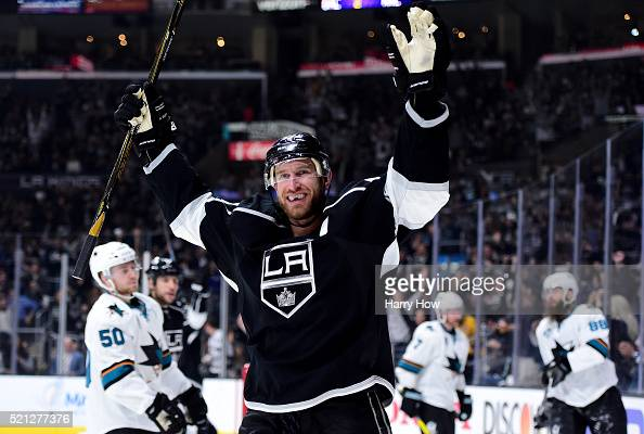 Jeff Carter of the Los Angeles Kings celebrates his goal to tie the score 22 with the San Jose Sharks during the second period in Game One of the...
