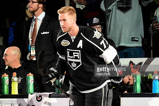 Jeff Carter of the Los Angeles Kings enters the 2017 Coors Light NHL AllStar Skills Competition as part of the 2017 NHL AllStar Weekend at STAPLES...