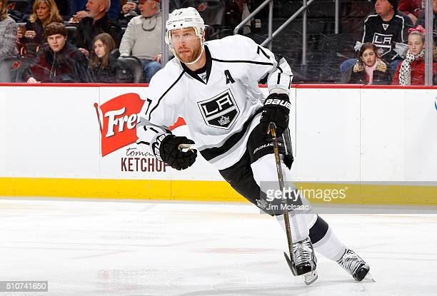 Jeff Carter of the Los Angeles Kings in action against the New Jersey Devils at the Prudential Center on February 14 2016 in Newark New Jersey The...