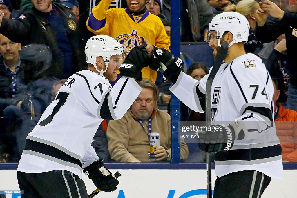 Jeff Carter #77 of the Los Angeles Kings is congratulated by Dwight King #74 of the Los Angeles Kings after scoring his second goal of the game against the Columbus Blue Jackets during the third period on December 20, 2016 at Nationwide Arena in Columbus, Ohio. Columbus defeated Los Angeles 3-2 in a shootout.