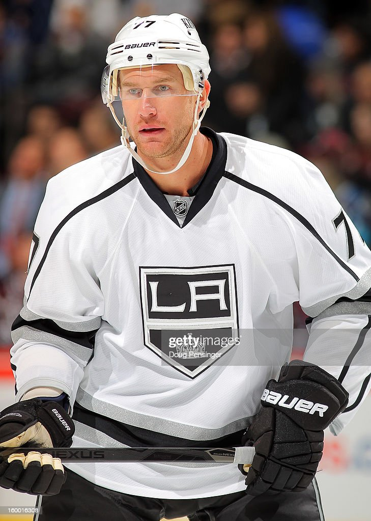 <a gi-track='captionPersonalityLinkClicked' href=/galleries/search?phrase=Jeff+Carter&family=editorial&specificpeople=227320 ng-click='$event.stopPropagation()'>Jeff Carter</a> #77 of the Los Angeles Kings looks on against the Colorado Avalanche at the Pepsi Center on January 22, 2013 in Denver, Colorado. The Avalanche defeated the Kings 3-1.