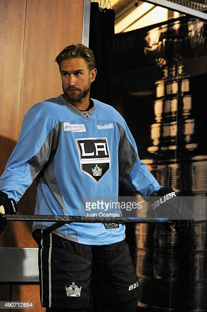 Jeff Carter of the Los Angeles Kings looks on before a game against the Anaheim Ducks at STAPLES Center on September 29 2015 in Los Angeles California