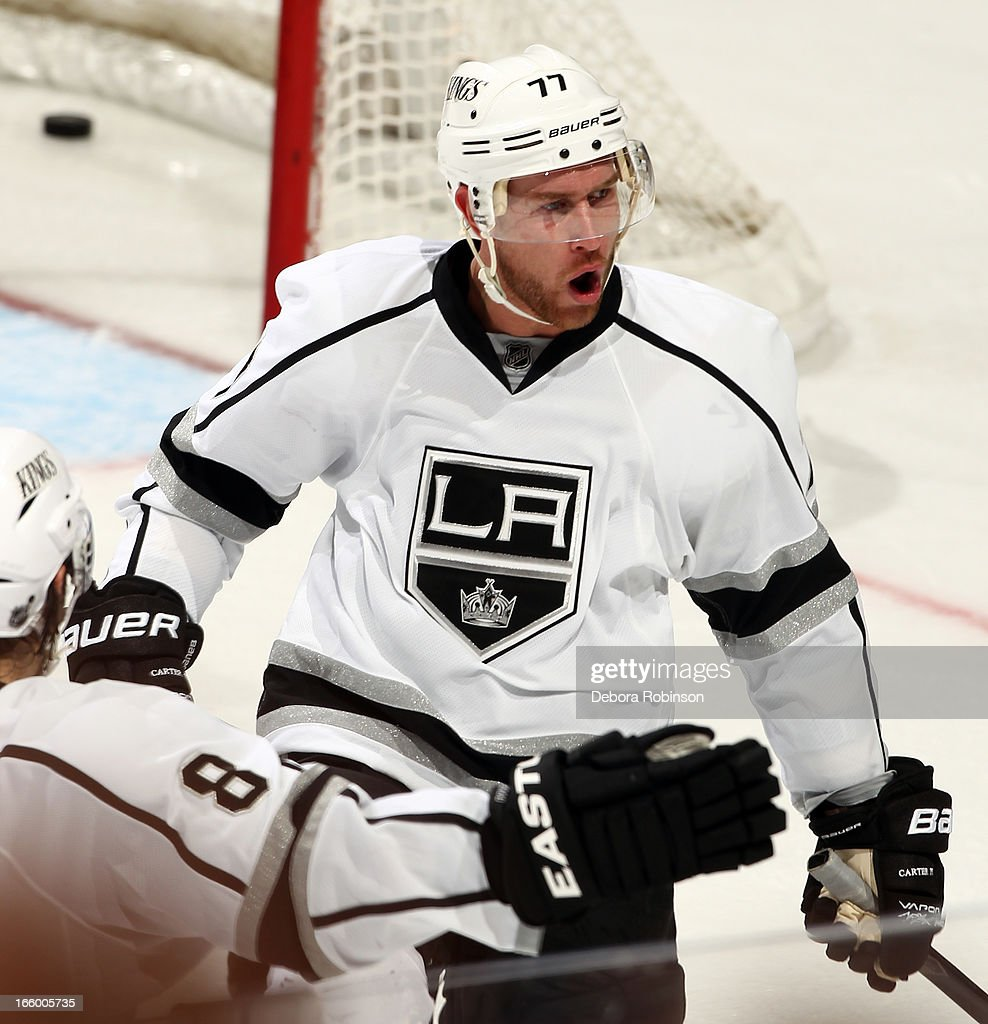 <a gi-track='captionPersonalityLinkClicked' href=/galleries/search?phrase=Jeff+Carter&family=editorial&specificpeople=227320 ng-click='$event.stopPropagation()'>Jeff Carter</a> #77 of the Los Angeles Kings reacts after scoring a goal in the second period of the game against the Anaheim Ducks on April 7, 2013 at Honda Center in Anaheim, California.