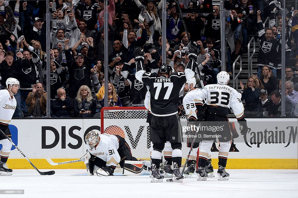 <a gi-track='captionPersonalityLinkClicked' href=/galleries/search?phrase=Jeff+Carter&family=editorial&specificpeople=227320 ng-click='$event.stopPropagation()'>Jeff Carter</a> #77 of the Los Angeles Kings reacts after scoring a goal against the Anaheim Ducks in Game Three of the Second Round of the 2014 Stanley Cup Playoffs at Staples Center on May 8, 2014 in Los Angeles, California.