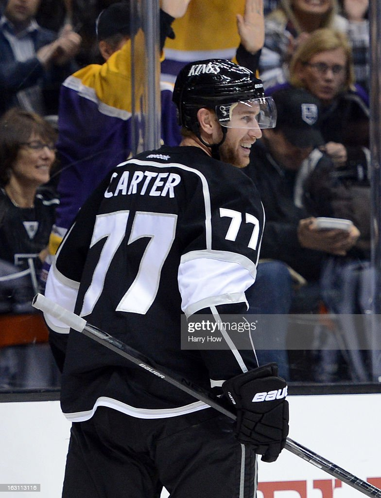 Jeff Carter #77 of the Los Angeles Kings reacts to his goal for a 1-0 lead over the Nashville Predators during the second period at Staples Center on March 4, 2013 in Los Angeles, California.