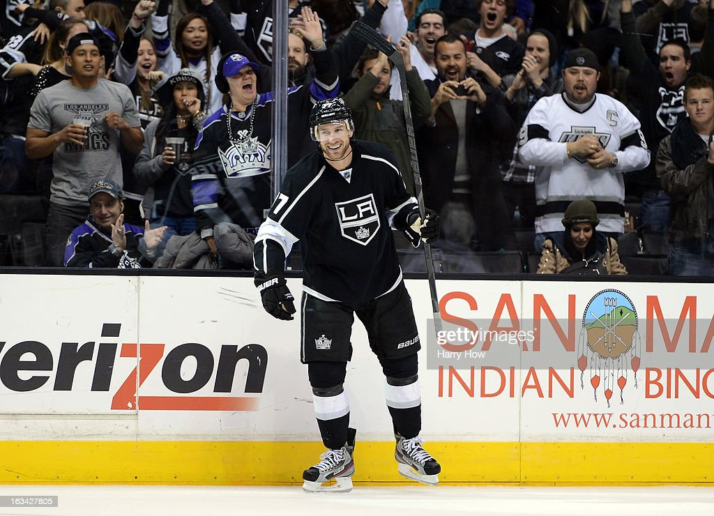 Jeff Carter #77 of the Los Angeles Kings reacts to his goal for a 2-1 lead over the Dallas Stars during the second period at Staples Center on March 7, 2013 in Los Angeles, California.
