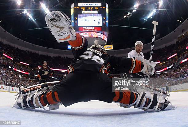 Jeff Carter of the Los Angeles Kings scores a goal past goaltender John Gibson of the Anaheim Ducks in the first period of Game Seven of the Second...