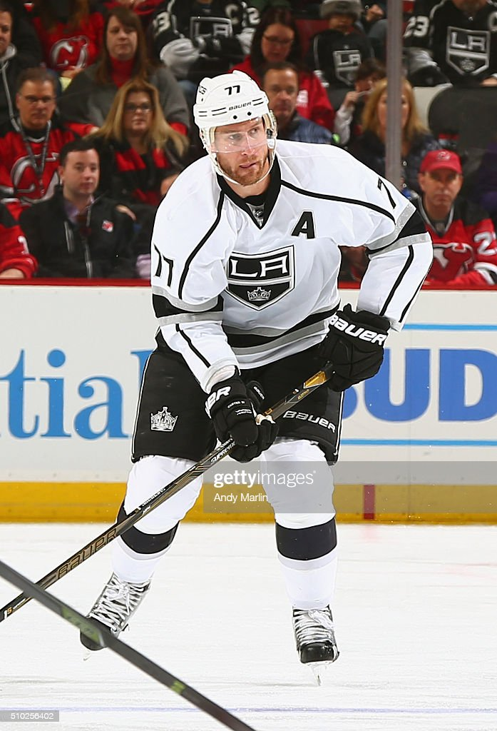 <a gi-track='captionPersonalityLinkClicked' href=/galleries/search?phrase=Jeff+Carter&family=editorial&specificpeople=227320 ng-click='$event.stopPropagation()'>Jeff Carter</a> #77 of the Los Angeles Kings skates against the New Jersey Devils during the game at the Prudential Center on February 14, 2016 in Newark, New Jersey.