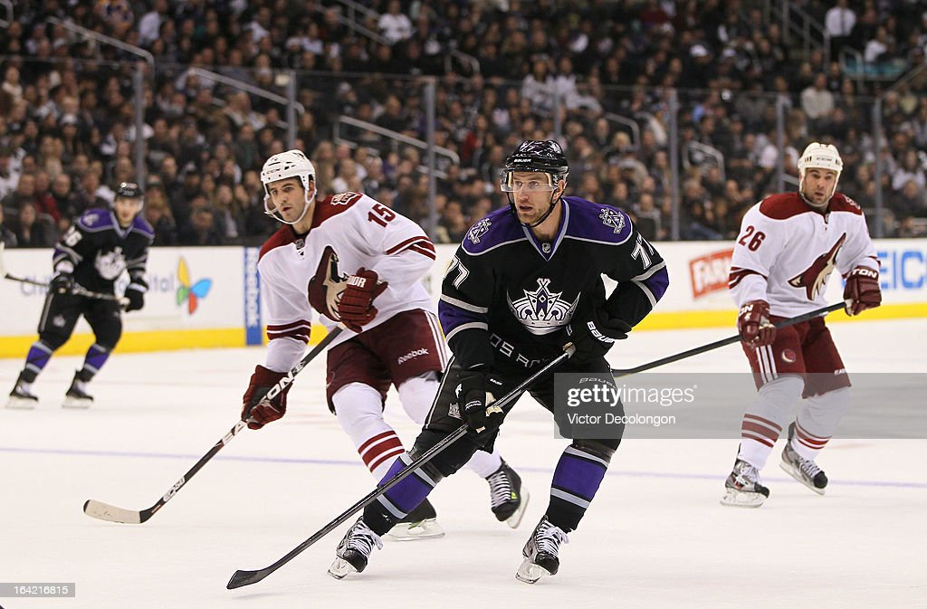 <a gi-track='captionPersonalityLinkClicked' href=/galleries/search?phrase=Jeff+Carter&family=editorial&specificpeople=227320 ng-click='$event.stopPropagation()'>Jeff Carter</a> #77 of the Los Angeles Kings skates on the forecheck against the Phoenix Coyotes during the NHL game at Staples Center on March 18, 2013 in Los Angeles, California. The Kings defeated the Coyotes 4-0.