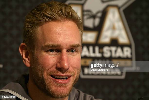 Jeff Carter of the Los Angeles Kings speaks with the media during 2017 NHL AllStar Media Day as part of the 2017 NHL AllStar Weekend at the JW...