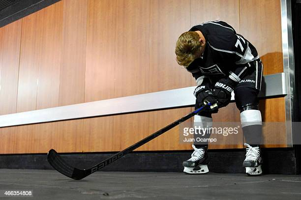 Jeff Carter of the Los Angeles Kings stands outside of the locker room before a game against the Nashville Predators at STAPLES Center on March 14...