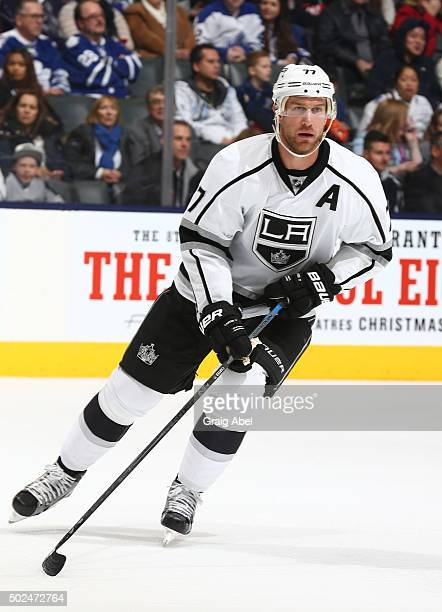 Jeff Carter of the Los Angeles Kings turns up ice against the Toronto Maple Leafs during game action on December 19 2015 at Air Canada Centre in...