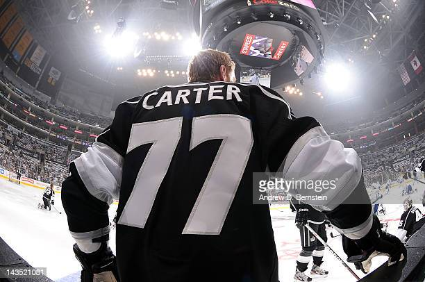 Jeff Carter of the Los Angeles Kings warms up prior to the game against the Vancouver Canucks in Game Four of the Western Conference Quarterfinals...
