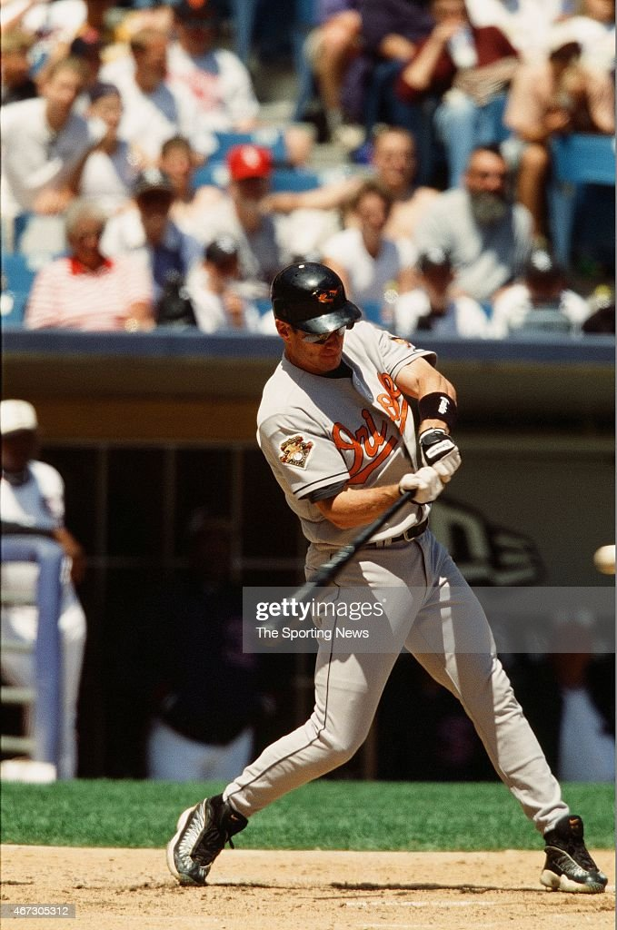 Jeff Conine of the Baltimore Orioles bats against the Chicago White Sox on July 1, 2001.