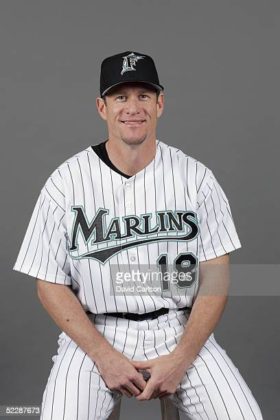 Jeff Conine of the Florida Marlins poses for a portrait during photo day at Roger Dean Stadium on February 26 2005 in Jupiter Florida