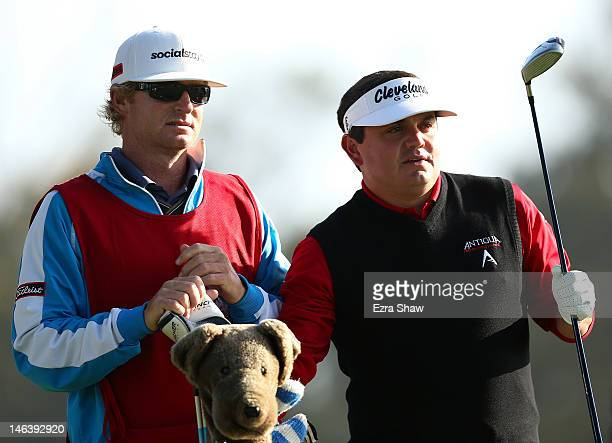 Jeff Curl of the United States waits with his caddie Kelly Miller during the second round of the 112th US Open at The Olympic Club on June 15 2012 in...