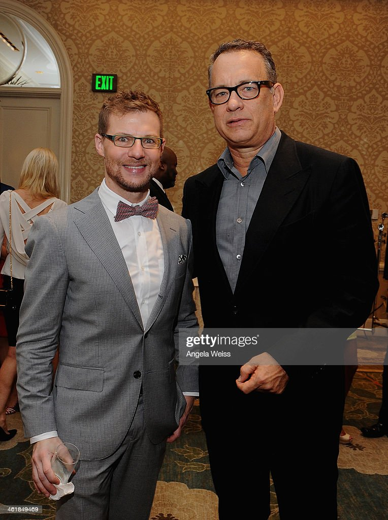 Jeff Curry, Vice President of Jaguar (L) and actor <a gi-track='captionPersonalityLinkClicked' href=/galleries/search?phrase=Tom+Hanks&family=editorial&specificpeople=201790 ng-click='$event.stopPropagation()'>Tom Hanks</a> attend the 2014 BAFTA Los Angeles Awards Season Tea Party presented by Jaguar Land Rover and Mulberry at the Four Seasons Hotel Los Angeles at Beverly Hills on January 11, 2014 in Los Angeles, California.