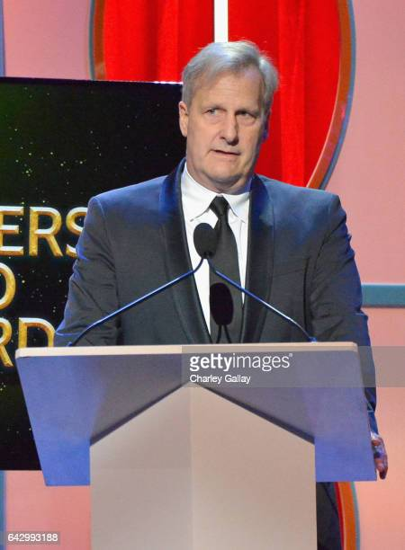 Jeff Daniels speaks onstage during the 2017 Writers Guild Awards LA Ceremony at The Beverly Hilton Hotel on February 19 2017 in Beverly Hills...