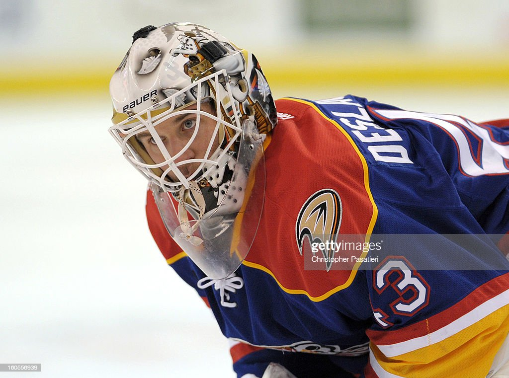 Jeff Deslauriers of the Norfolk Admirals looks on prior to an American Hockey League game against the Bridgeport Sound Tigers on February 2 2013 at...