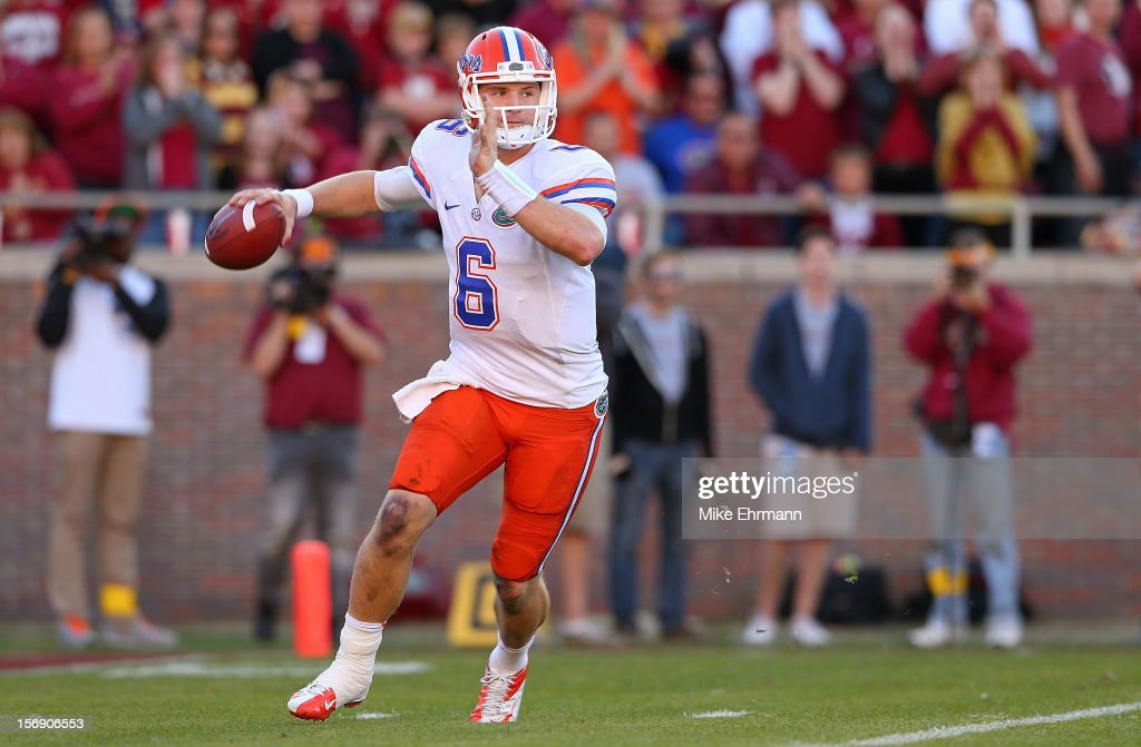 Jeff Driskel #6 of the Florida Gators looks to pass during a game against the Florida State Seminoles at Doak Campbell Stadium on November 24, 2012 in Tallahassee, Florida.