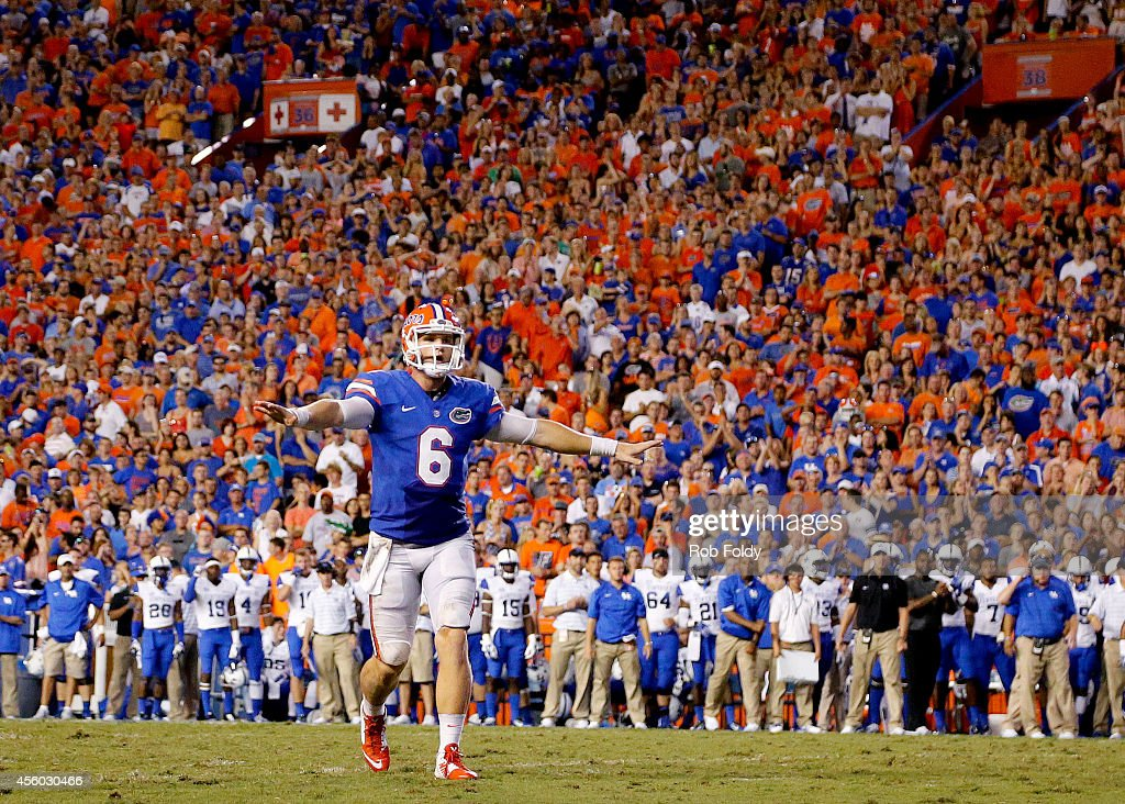<a gi-track='captionPersonalityLinkClicked' href=/galleries/search?phrase=Jeff+Driskel&family=editorial&specificpeople=7639913 ng-click='$event.stopPropagation()'>Jeff Driskel</a> #6 of the Florida Gators reacts during the game against the Kentucky Wildcats at Ben Hill Griffin Stadium on September 13, 2014 in Gainesville, Florida.
