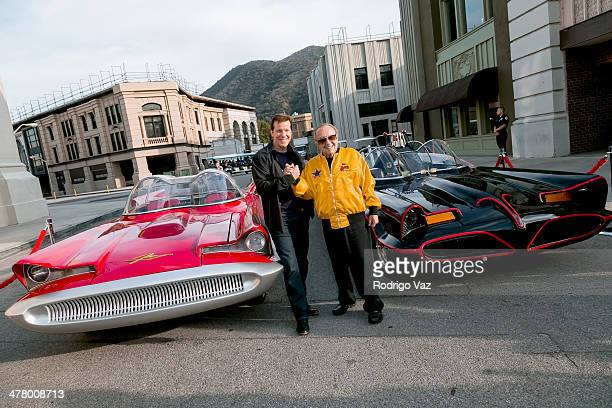 Jeff Dunham and George Barris attend the Warner Bros VIP Tour 'Meet The Family' Speaker Series Cars For Movie/TV at Warner Bros Tour Center on March...