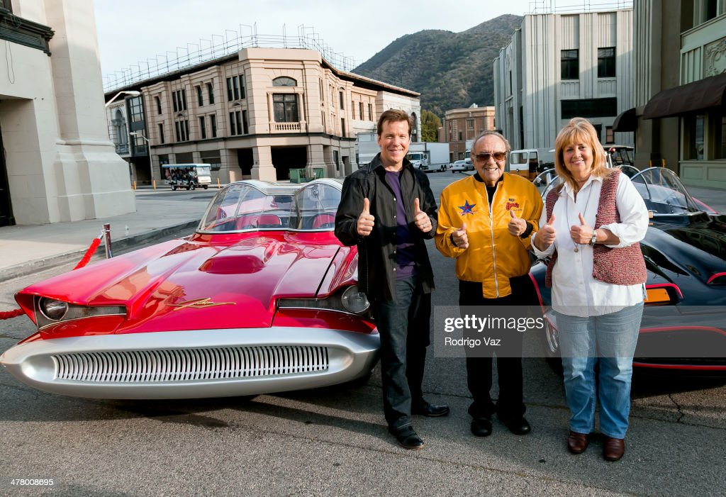Jeff Dunham, Cassandra Salapatas-Metz and George Barris attend the Warner Bros. VIP Tour 'Meet The Family' Speaker Series - Cars For Movie/TV at Warner Bros. Tour Center on March 11, 2014 in Burbank, California.