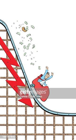 Jeff Durham illustration of a person in a roller coaster car heading down a steep stock chart with his money flying all over can be used with stories...