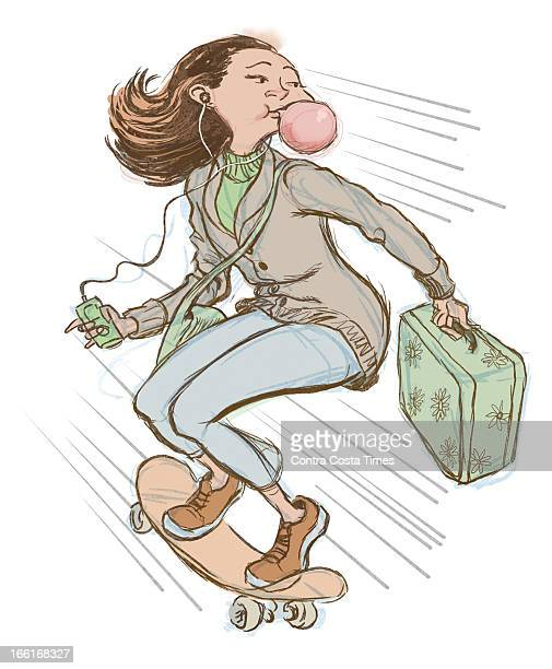 Jeff Durham illustration of college student with bubblegum iPod suitcase and riding a skateboard
