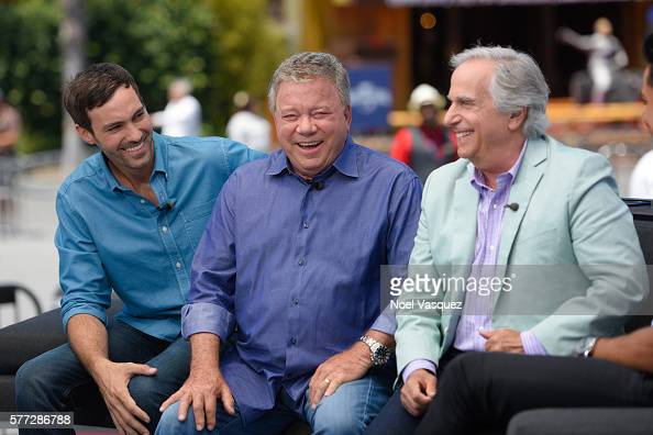 Jeff Dye William Shatner and Henry Winkler visit 'Extra' at Universal Studios Hollywood on July 18 2016 in Universal City California